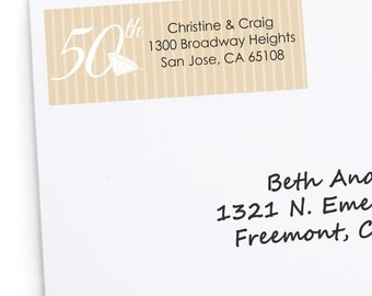 50th Anniversary Address Labels - Personalized Return Address Sticker - 30 Count