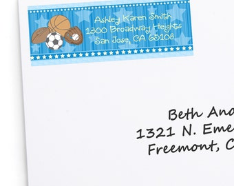 All Star Sports Address Labels - Personalized Return Address Sticker - 30 Count