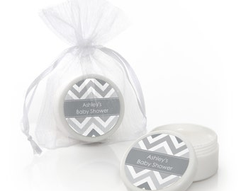 Chevron Gray Lip Balm Party Favors - Custom Baby Shower, Birthday Party, or Bridal Shower Supplies - 12 Count