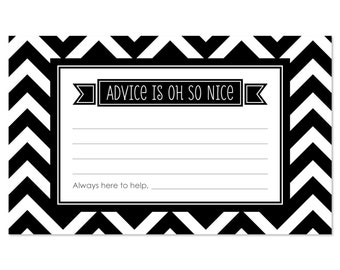 Chevron Black & White Advice Cards - 18 Helpful Hints Cards for a Baby Shower, Birthday Party or Bridal Shower