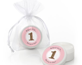 Fun to be One - 1st Birthday Girl Lip Balm Party Favors - Custom Party Supplies - 12 Count