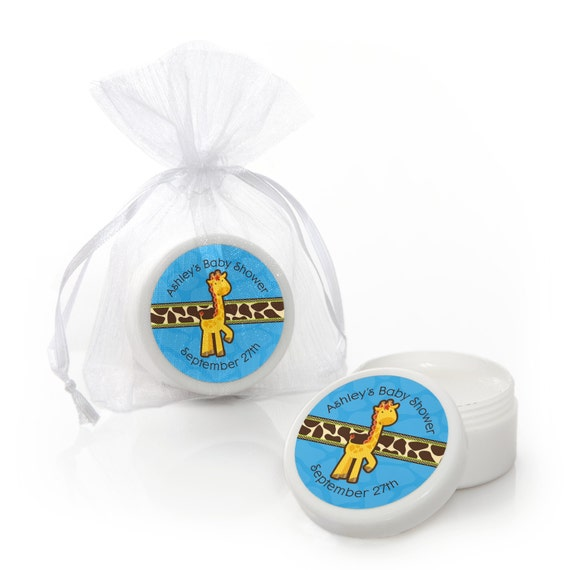 12 boy giraffe lip balm party favors baby shower and birthday party