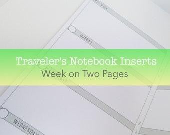 Week on Two Pages Planner -- No Grid {A6 Size} Traveler's Notebook Insert Booklet // Choose Cover & Paper Colors!