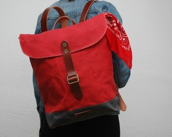waxed canvas rucksack/backpack, red color, charcoal, with handles, leather  ,hand wax