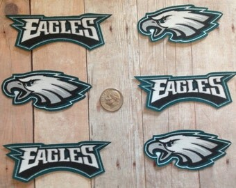 Handmade Iron On Appliques Philadelphia Eagles Logo Cotton Fabric 6 Piece Set
