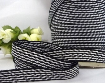 Black with White Stripe Herringbone Ribbon Twill Tape crafts supply 3/8 inch / 1 cm width TR32