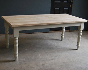 Vintage Kitchen/Dining Farmhouse Table made from Reclaimed Timber - Farmhouse Leg Table