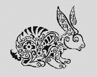 Counted Cross Stitch Pattern, Nursery Art, New Baby, Animals, Rabbit, Spirals, Paper Pattern or Complete Kit