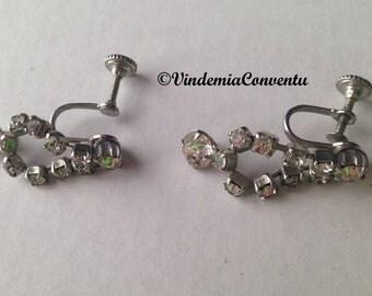 Vintage Rhinestone Dangle Earrings Screw Back Classic