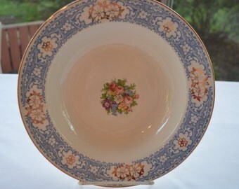 Royal Splendor Brittany Shape by Homer Laughlin - 9 inch Round Vegetable Serving Bowl - White China with Gold Blue Floral Pattern