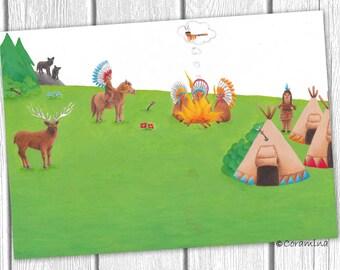 "Originalillustration  ""Indianer - Teil 2"""