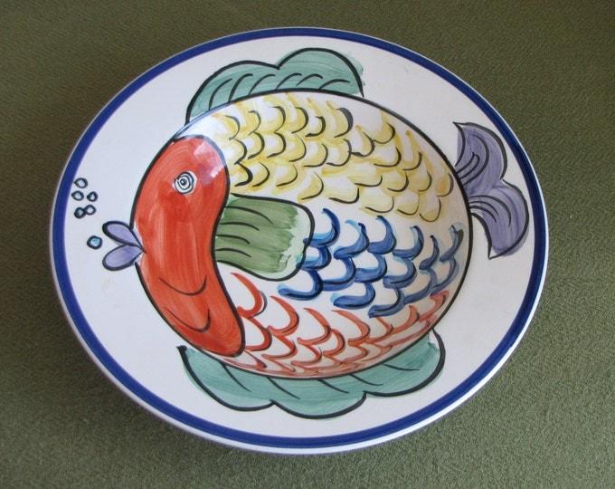 Pescada Fish Bowl Blue Trim Portuguese Discontinued Hand Painted