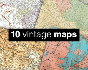 """Vintage maps digital paper: """"VINTAGE MAPS"""" with old maps, and historical maps of the world, europe, japan in blue, yellow, white, pink, tan"""