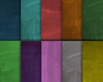 "Colorful chalkboard digital paper: ""COLORFUL CHALKBOARD"" with chalkboard paper in blue, green, yellow, orange, red, pink, purple, grey"