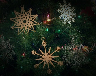 "16 Stars & Snowflakes -- 5"" (size adjustable) Christmas Ornament Designs,  Digital Patterns for a Laser to Cut from wood, MDF, or Acrylic."