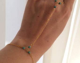 Slave Bracelet,gold plated, Turquoise Beads, Delicate Bracelet Ring, Hand Chain