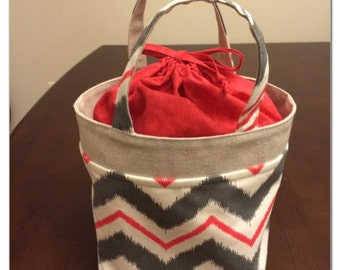 Lunch Bag, Small Tote, Raspberry Chevron and Grey