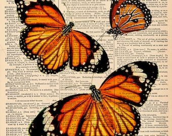 "Butterfly Trio for Mothers Day,   Vintage page print. Vintage book page art print. Print on book page.  Fits 8""x10"" frame. Gift for Dad."