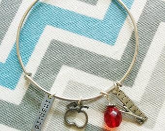 Teacher Inspired Expandable Bangle Bracelet