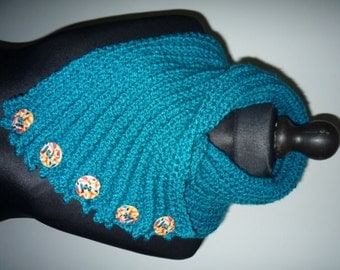 Jade green chunky hand knitted cowl/scarf with buttons