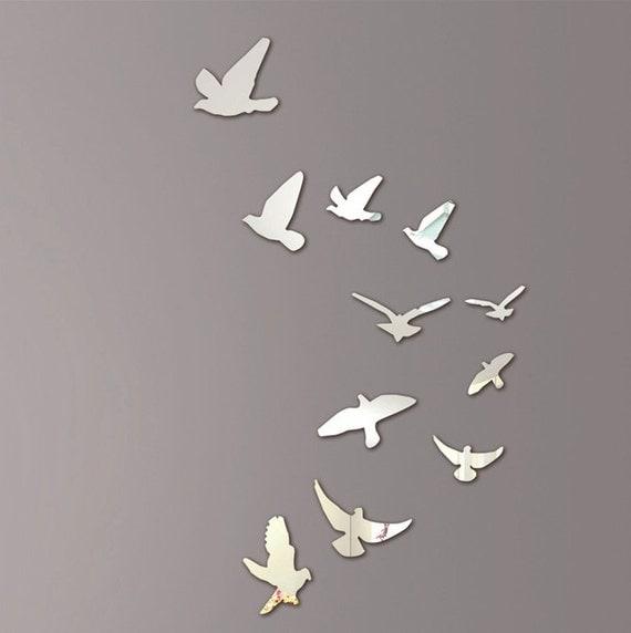 Mirror wall art flying birds for Leroy merlin miroir deco