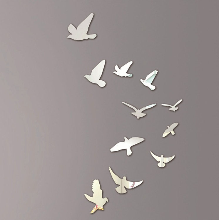 Wall Art Mirror Birds : Mirror wall art flying birds
