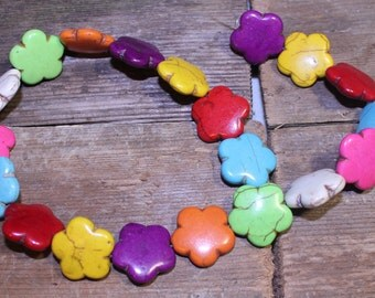 Mixed Color Howlite Flower Beads, Mixed Color Flowers, Multi Colored Flower Beads