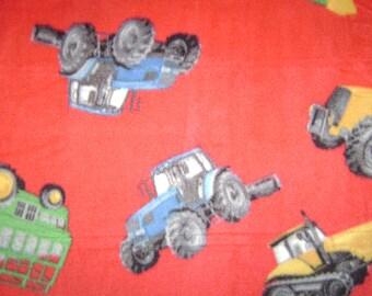 Fabric by the 1/2 Yard - Farming Tractors Fleece Fabric