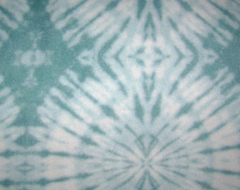 Remnant - Blue Tie Dye Fleece Fabric Remnant 14 inches