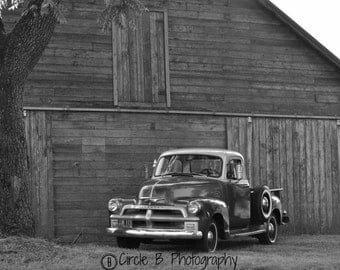 1954 Chevy pick up - 11 x 14 black & white photo (print only-not framed)