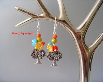 Costume jewelry tree earrings and multicolored beads