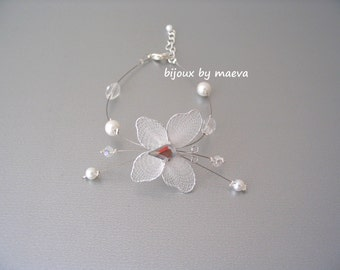 wedding jewelry bracelet pearls and white butterfly