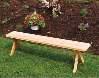 Red Cedar Crossleg 6ft. Backless Bench