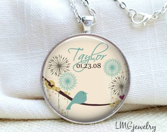 Mother Necklace, Personalized Mother's Necklace, Bird and Flower Necklace, Mommy Necklace, Keepsake Jewelry, Children's Names, Gift for Mom