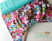 Pink Monkeys with Teal inner - OSFM Fitted Cloth Nappy