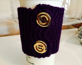 Purple knit cup cozy