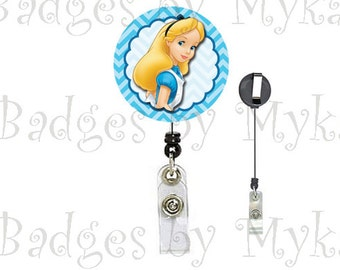 Retractable ID Badge Holder - Alice in Wonderland
