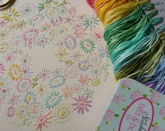 Definitive Beginner Transfer Embroidery Kit 'Beginner Blossoms' (Pastels) *NEWBIES START HERE!* ; Beautiful Kits By Maggie Gee