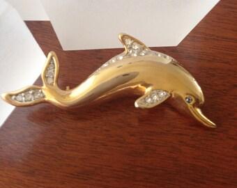 Vintage Dolphin Pin, Vintage Dolphin Brooch, Vintage Dolphin Porpoise Pin, Vintage Dolphin Porpoise Brooch, Porpoise Dolphin Pin Brooch