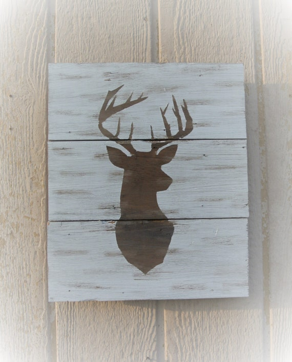 Buck Sign Deer Sign White Tail Wall Art Whitetail Hunter Sign Reclaimed Wood Wall Hanging Rustic