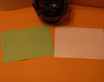 8 A2 embossed teddy bear card fronts for cards, scrapbooking etc.