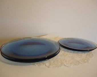 Blue Glass Plate Set