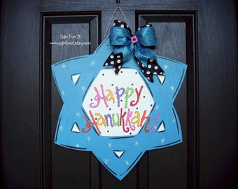 Star of David Hanukkah Door Sign