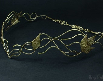 Elven tiara, Wire wrapped tiara, Elven diadem, Crown, Leaves crown