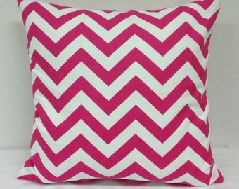 Pink Chevron 18 inch Decorative Pillow Cover