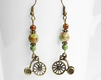 Handmade Bicycle Earrings, African Opal Gemstone Dangle Earrings, Cyclist, Bike, Antique Bronze Penny Farthing Charm, Boho Chic Beading