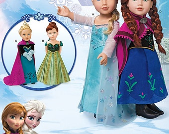"""Simplicity Pattern 1217 Frozen Costumes for 18"""""""" Doll"""