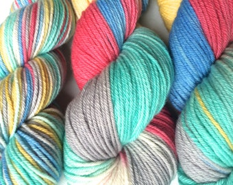 Hand Dyed Yarn--Sailboat Lulu on 100% Merino Worsted Superwash