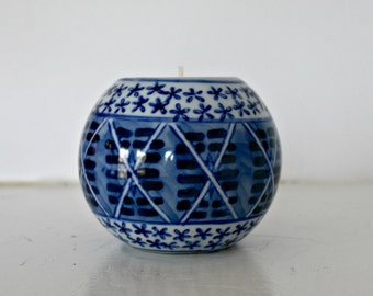 Vintage Blue and White Chinoiserie Tea Candle Holder