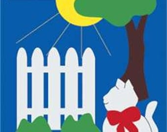 Cat with Fence Handcrafted Applique House Flag